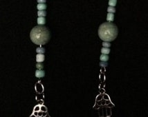 """Spirituality Jewelry-Earrings-Jainism-New Age/Hippie-By Li-Teal/Turquoise Beads,Silver """"Hands"""" Charms"""