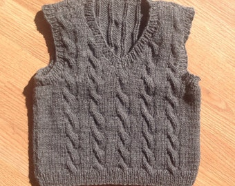 Vest, Vest for Baby Boy, Hand Knit Baby Vest, Cable Knit Baby, vest is sized  18-24 months