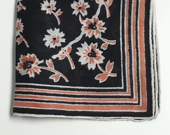 Vintage Black Handkerchief with Peach and White Flowers, Striped Border Hanky