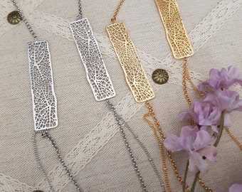 Simple Two Tree Bar Long Pendant Necklace w Double Chains, Gold, Silver, Rhodium or Gold Plated Chains