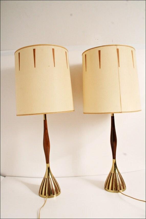 2 danish modern lamp pair wood gold drum by saveamericanhistory. Black Bedroom Furniture Sets. Home Design Ideas