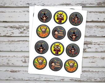 Curious George Halloween Cupcake Toppers Curious George Party Curious George Halloween Topper Curious George Favor Tags INSTANT DOWNLOAD