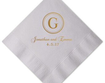 Initial Monogram Personalized Wedding Napkins  - Reception Napkin - Bar Napkin