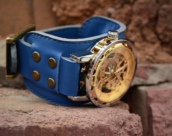 Blue Woman Leather Wirst Watch Custom Leather Band Mechanical Movement Watch Men Leather Watch Cuff Birthday Gift
