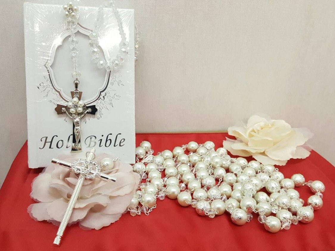 Matrimonio Y Biblia : Lazo de boda con biblia y rosario cristal laso by