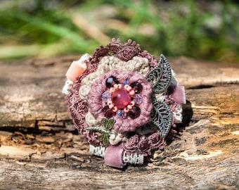 "Textile brooch, flower brooch, brooch boho,  crochet bouquet, crochet flower brooch,  crochet flowers,  crochet jewelry,   ""Aria"""