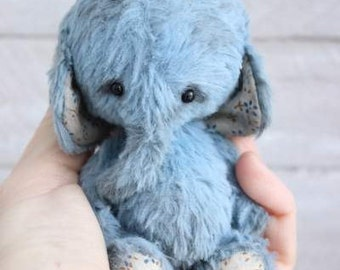 "Stuffed elephant "" Jacob"".Teddy Bear.OOAK teddy.Mini teddy bear.Artist teddy bear.Retro teddy bear.Teddy"