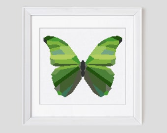 Butterfly cross stitch pattern, modern butterfly counted cross stitch pattern, butterfly cross stitch pattern pdf download