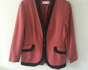 Vintage 1980's Jacques Vert Pink Blazer Jacket Small