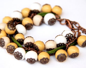 Polymer clay bracelet Women's everyday bracelets Casual jewelry for women Statement bracelet Beaded bracelet for girls, White Beige Yellow