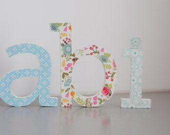 Free standing letter name, Hand painted and decorated wooden letters for nursery/kids room, Wall letters baby room, Girl nursery decor