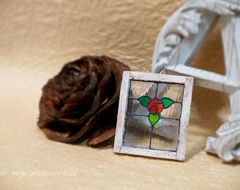 Dollhouse shabby stainedn glass window - Rose
