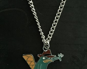 Silver Plated Phineas and Ferb Perry the Platypus Necklace