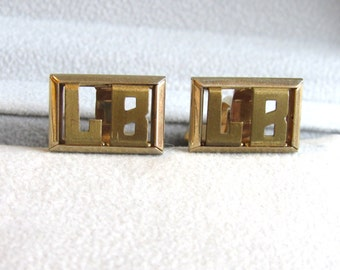 "Vintage SWANK Gold Plated Monogrammed ""LB"" Cuff Links Menswear 3/4"" by 1/2"""