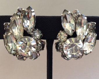 Rhodium Backed Clear Rhinestone Clip Earrings