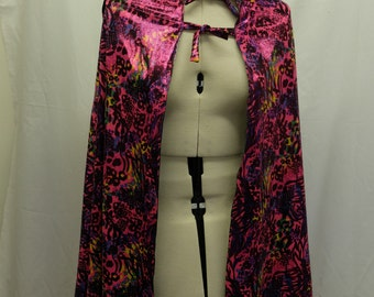 REVERSIBLE HOODED CAPE - Pink Floral Print & Silver (Handmade)
