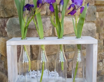 Rustic Bud Vase Centerpiece with 4 Bottles. Rustic Home Decor. Rustic Centerpiece. Wedding Gift. Wedding Centerpiece