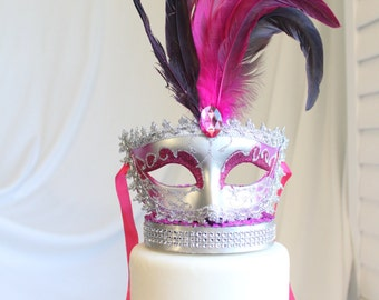 Masquerade, Venetian, Mask Cake Topper Pink and Silver, Glitter, French, Carnival, overthetopcaketopper