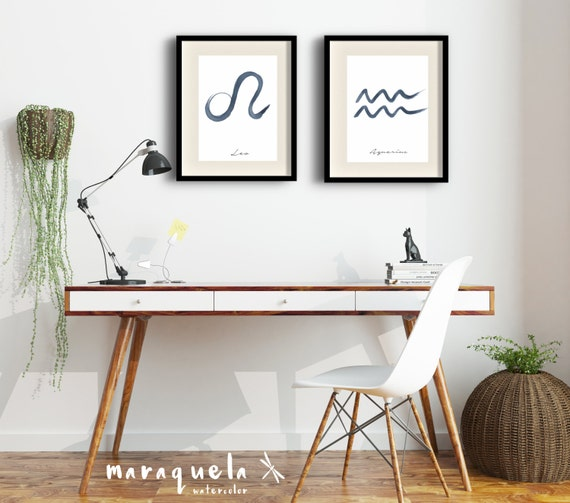DISCOUNT SET- 2 Zodiac Original Watercolor ArtPrint, Minimal Design, Modern Wall Art, Gift idea, Astrology print, Bedroom living room print