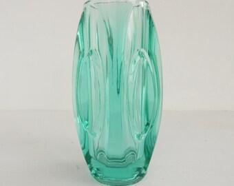 """Mid century modern glass vase, Sklo Union, Rosice lens vase by Rudolf Schrotter, Turquoise, Czech - 15 cm (6""""), pattern 914"""