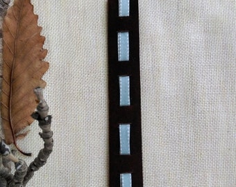 Suede Leather Bookmark, Handmade, Decorated With Light Green/Light Blue Ribbon & Jewel Flower