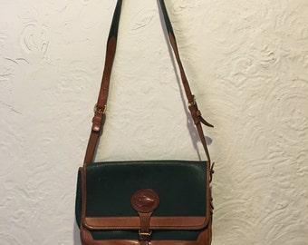 Vintage Bag- Vintage Green and Brown  Dooney and Bourke Crossbody Bag