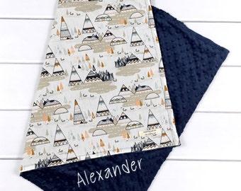 Personalized Baby Boy Blankets - Woodland Nursery Bedding - Monogrammed Baby Blankets - Crib blanket - Toddler blanket - Baby Name blankets