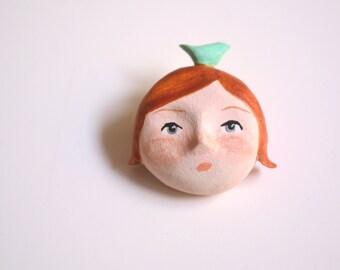 brooch pin art doll polymer clay doll handmade ooak