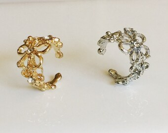Flower Ear Cuff Earring, Cartilage Cuff, Gold  Ear Cuff, Silver Ear Cuff