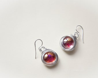 Glass and wire pendant earrings