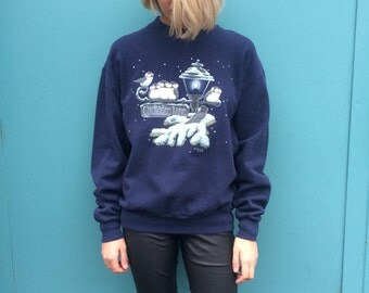 Vintage 90s Kitsch Christmas Sweater Jumper Size XS to S