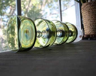 Set of 4 Olive Green Champagne/Dessert Glasses