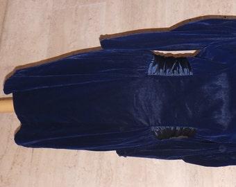 Vintage Blue Velvet Dress with Rosette Detail