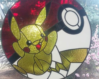 Pikachu / pokeball inspired stained glass.