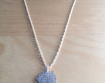 Sterling silver necklace with waves abstract disc charm