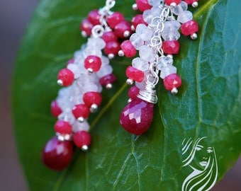 Red ruby & moonstone cluster earrings