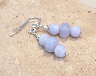 Blue and silver drop earrings, gemstone earrings, sundance style earrings, agate earrings, dangle earrings, sterling silver drop earrings