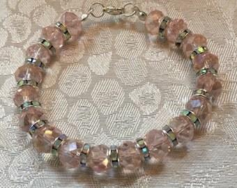 Pink Aurora Borealis Crystal And Aurora Borealis Rhinestone Beaded Bracelet