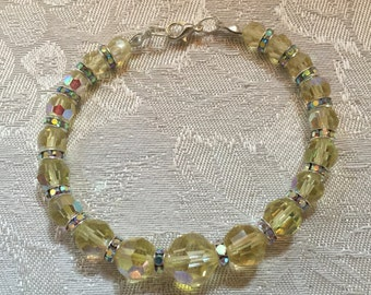 Yellow Aurora Borealis Crystal And Rhinestone Bracelet