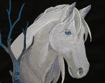 Lovely Wintry Horse Quilt Panel