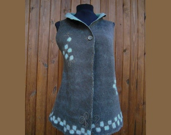 Felt merino vest, Felted reversible waistcoat, Coffee brown and mint embroidered vest, OOAK