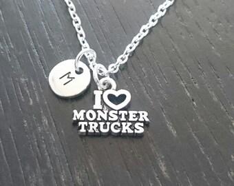 I Love Monster Trucks Necklace, Monster Truck Charm, Monster Truck Pendant, Monster Truck Jewelry, Monster Truck Birthday,Monster Truck Gift