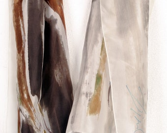 Scarf silk handpainted. Abstract, floral scarf in monochrome scheme. Grey brown silk scarf. Abstract painting on silk by Dimo/ Unique scarf