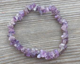 AMETHYST Natural Stone Gemstone Stretchy Chip Bracelet