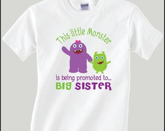 Monster big sister etsy for Big sister birth announcement shirts