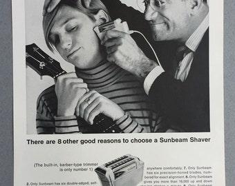1967 Sunbeam Electric Shaver Print Ad - Generation Gap