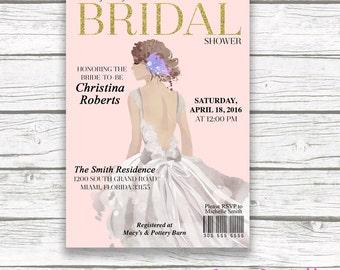 Bride Bridal Shower Invitation, Fashion Magazine Bridal Shower Invitation, Blush and Gold Bridal Shower Invite, Wedding Dress Invitation