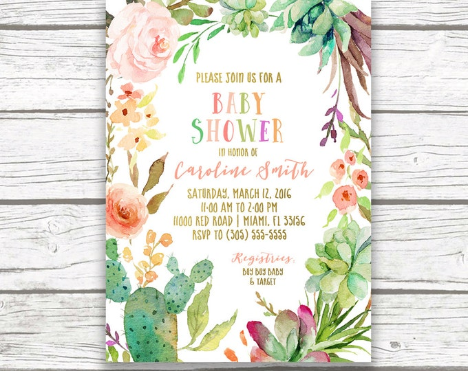 Cactus Baby Shower Invitation, Fiesta Baby Shower Invitation, Southwestern Baby Shower, Succulent Invitation, Tropical Baby Shower Invite