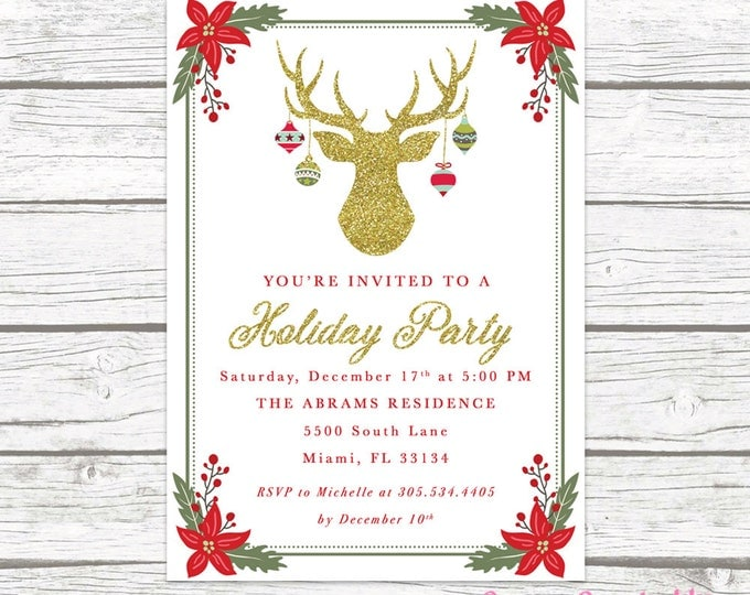 Antler Ornament Christmas Holiday Party Invitation, Holly Deer Reindeer Christmas Floral Gold Glitter Invite, Red Green Printable Printed