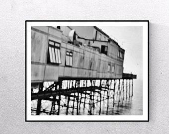 Black And White, Pier Photography, Nautical Art, Coastal, Pier Print, Fishing Pier, Wales Art, East Wales, Fine Art Photography, Wales Photo